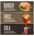 fast food banners with burgerfried potatoes and vector image