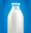 fresh milk in glass bottle on blue background vector image