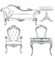 Set of classic furniture with ornaments vector image