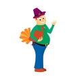 Thick happy man holds in one hand turkey is a vector image