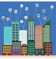 View of the city in style flat with icons of urban vector image