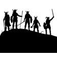 viking raiders silhouette vector image