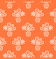 coral orange and white line flower pots seamless vector image