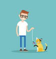 young character playing with a cat flat editable vector image