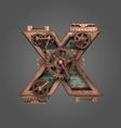 x rusted letter with gears vector image