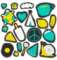 neon stickers and embroidery patches collection vector image