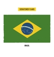 Brazilian grunge flag with little scratches on vector image