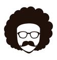 Man afro glasses cartoon vector image