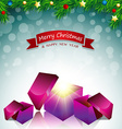 Merry Christmas card surprise gift box vector image
