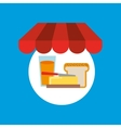 Shopping online breakfast food vector image