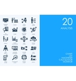 Set of BLUE HAMSTER Library analysis icons vector image