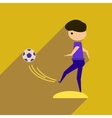 Flat web icon with long shadow football player vector image