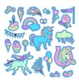 unicorn multicolor stickers with unicorn clouds vector image