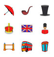 british kingdom icons set cartoon style vector image