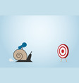 businessman moving slowly to dart board with snail vector image