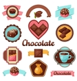 Chocolate set of badges and labels with various vector image