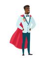 groom wearing a red superhero cloak vector image