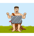 Happy primitive man is working with the laptop vector image