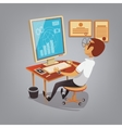 Man busy working with computer in office Business vector image