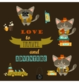 Set of cats travelers vector image