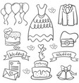 doodle of wedding various object vector image