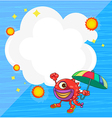 A stationery with a monster holding an umbrella vector image vector image