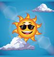 character sun sunglasses cute face - cartoon in vector image