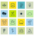 set of 16 nature icons includes cloud sunflower vector image