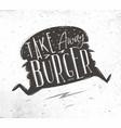 poster take away burger vector image vector image