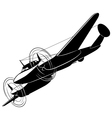 Silhouette of the old fighter airplane vector image vector image