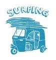 Blue tuk-tuk with surfboards grunge vintage logo vector image