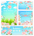 summer time flowers banner and poster template set vector image