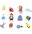 Cute School Icon Set vector image