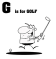 Man playing golf with letter cartoon vector image vector image