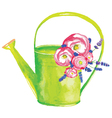 watering can with flowers vector image vector image