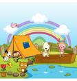 Animals fishing vector image