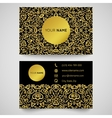 Business card template golden pattern on black vector image