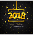 golden gift box 2018 new year vector image