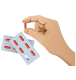 Hand with pill version 1 vector image
