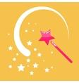 Magic wand stars flat icon cartoon vector image