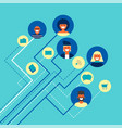 social network people team connections in flat art vector image