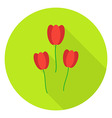 Three Tulips Garden Flowers Circle Icon vector image