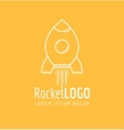 White outline rocket icon logo vector image