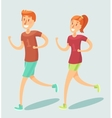 Young couple running outdoor flat style vector image