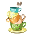 Stacked tea cups vector image