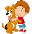 Happy young boy lovingly hugging his pet dog vector image