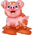 Cartoon pig play in a mud puddle vector image