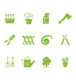 green gardening tools and accessories icons set vector image