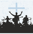 silhouette of the worship group of god vector image