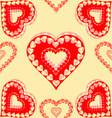 Valentines day red hearts seamless texture gold vector image